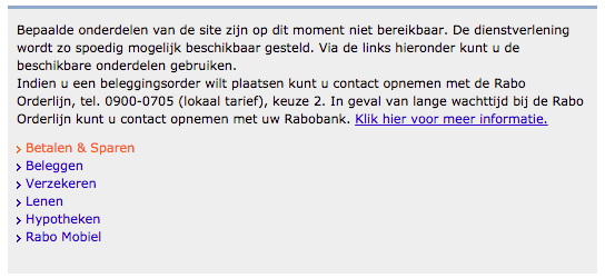 storing Rabobank internetbankieren