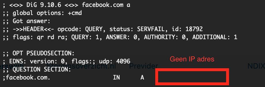 Facebook, WhatsApp, Instagram storing - 4 oktober 2021. Console afbeelding IP adres Facebook niet vindbaar.