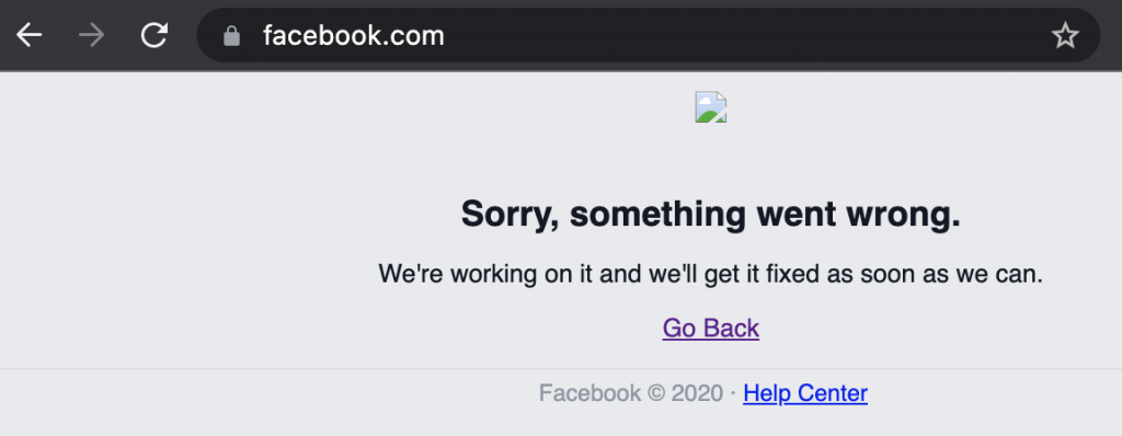 Facebook storing, 4 oktober 2021. Foutmelding Facebook startpagina.