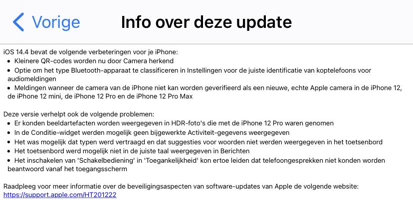 Details over de iOS 14.4 update